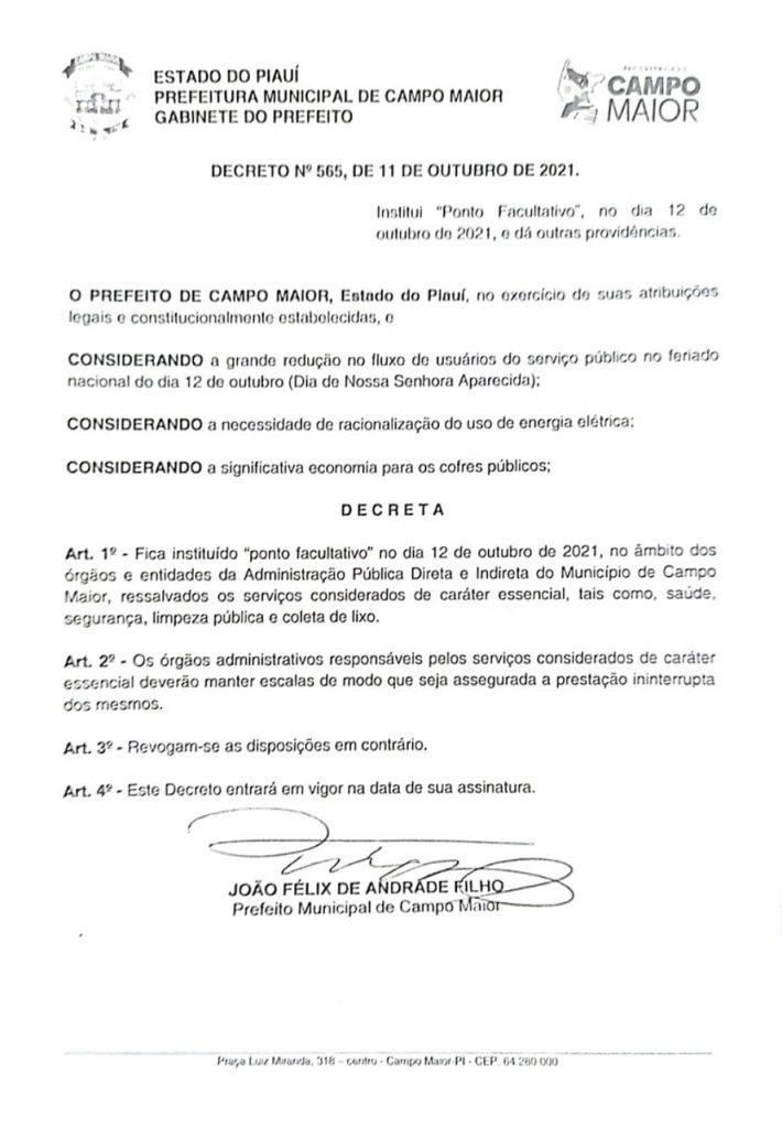 Decreto prefeitura de Campo Maior